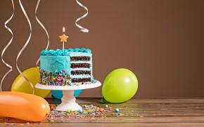 Картинка воздушные шары, день рождения, colorful, торт, cake, Happy Birthday, celebration, candles, decoration, ballones