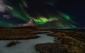 Картинка небо, звезды, ночь, северное сияние, Исландия, гора Kirkjufell