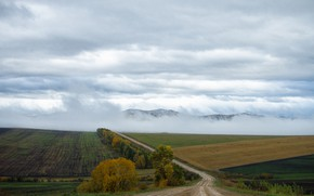 Картинка осень, горы, природа, дождь, хакасия, туман в горах