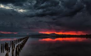 Картинка закат, ночь, мост, река