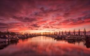 Обои гавань, облака, Соли, Англия, зарево, Дербишир, лодки