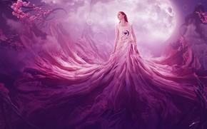 Картинка девушка, цветы, туман, сердце, планета, платье, фэнтези, арт