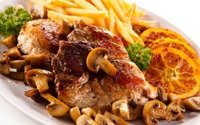 Картинка грибы, мясо, картофель