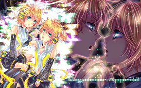 Картинка наушники, двое, бантик, Vocaloid, Вокалоид, Кагомине Лен, Кагомине Рин