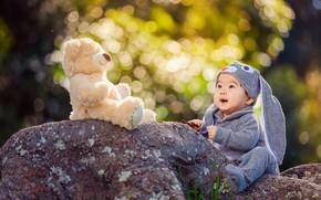 Картинка природа, камни, игрушка, заяц, малыш, мишка, костюм, ребёнок, боке, Derek Zhang