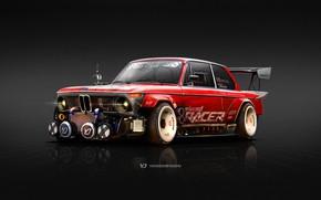 Обои BMW, Yasid Oozeear, 1974 BMW 2002, 1974, 2002, Рендеринг, Передок, BMW 2002, Красный, Арт, Red, ...