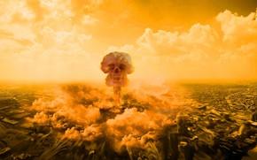 Обои катастрофа, ядерный взрыв, череп, адская ухмылка, уничтожение, конец света, апокалипсис, ударная волна