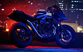 Картинка Kawasaki, moto, night, custom, 1984, sportbike, gpz900r, icon1000, Old Ghost, 84'
