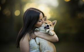 Картинка девушка, собака, друзья, Jasmin and Yamato