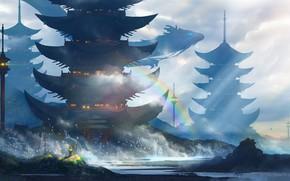 Обои радуга, башни, берег, серое небо, море, огни, волны, art, птицы, фэнтези мир, брызги, Era7, Japan, ...