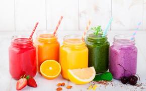 Обои лимон, коктейли, черешня, трубочки, листья, ягоды, орехи, апельсин, фрукты, банки, клубника