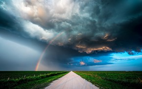 Обои тучи, природа, стихия, радуга
