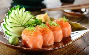 Обои тарелка, рыба, зелень, овощи, суши