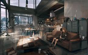 Картинка девушка, комната, интерьер