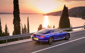 Обои Bentley, Continental GT, Blue, Coupe, 2017