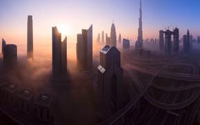 Картинка город, туман, утро, Дубай, ОАЭ