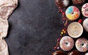 Обои пончики, глазурь, donuts, кофе