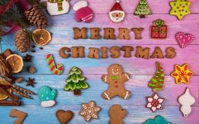 Картинка Новый Год, печенье, Рождество, wood, Merry Christmas, cookies, decoration, пряники, gingerbread, holiday celebration