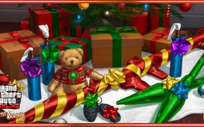 Картинка gun, game, bear, weapon, GTA, teddy bear, christmas tree, gifts, RPG, Grand Theft Auto, Rockstar …