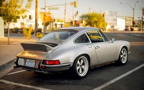 Картинка город, серебряный, Porsche 911