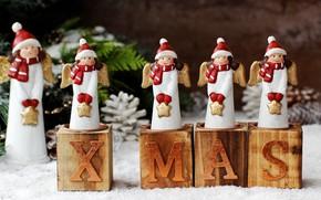 Картинка праздник, новый год, свечи, ангелы, декор