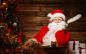 Картинка перо, праздник, елка, новый год, подарки, дед Мороз