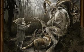 Картинка лес, звери, мальчик, леший, Der weise Faun, The wise Faun
