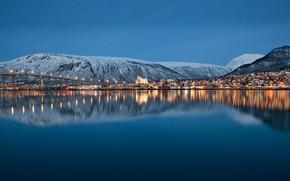 Картинка city, water, night, lake