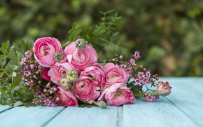 Картинка цветы, фон, букет, ваза, flowers, background, полевые цветы, vase, bouquet, азиатский лютик, wildflowers, Asian Buttercup