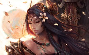 Картинка girl, sword, fantasy, magic, long hair, flowers, painting, brunette, artist, asian, artwork, princess, warrior, fantasy …