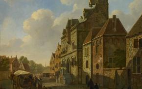 Картинка дерево, масло, картина, городской пейзаж, Вид на Город в Дордрехте, Johannes Schoenmakers