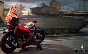 Обои Centurion Action X, британский, танк, девушка, рисунок, World of Tanks, город, мотоцикл, средний, дорога, арт, ...
