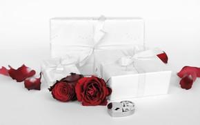 Картинка цветы, праздник, подарок, сердце, розы, день Святого Валентина, замочек