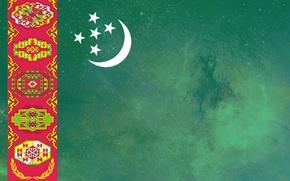 Картинка green, flag, ornament, Turkmen, Turkmenistan, Baydak, welayat