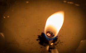 Обои огонь, свеча, макро