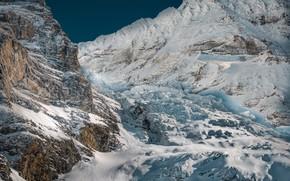 Картинка солнце, снег, горы, камни, скалы, Швейцария, Альпы, Eigergletscher