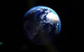 Картинка Звезды, Планета, Космос, Земля, Голубой, Жизнь, Space, Earth, Атмосфера, Cinema4d