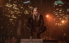 Обои Rain, Film, Leilah, Блондинка, Кино, Buildings, Актриса, Actress, Нуми Рапас, Noomi Rapace, Bright, City, Netflix, ...