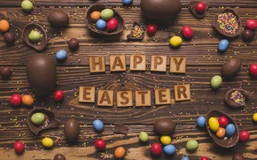 Картинка праздник, шоколад, colorful, Пасха, happy, wood, chocolate, Easter, eggs, sweets, candy, writing