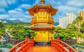 Картинка Гонконг, парк, горы, дома, деревья, кусты, Китай, пагода, облака, солнце, небо, пруд, камни