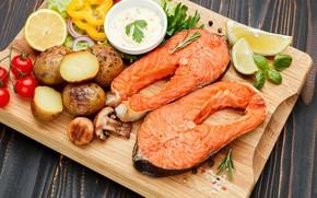 Картинка грибы, рыба, доска, перец, овощи, соус, специи, картофель