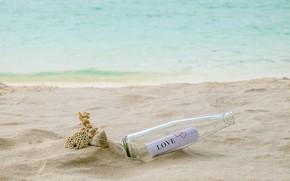 Картинка песок, море, пляж, лето, письмо, бутылка, summer, love, beach, sea, romantic, sand, letter, bottle