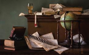 Картинка перо, бокал, книги, натюрморт, глобус, бумаги