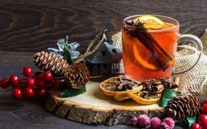 Картинка ветки, ягоды, дерево, лимон, чай, чашка, корица, шишки, мешковина, специи, бадьян