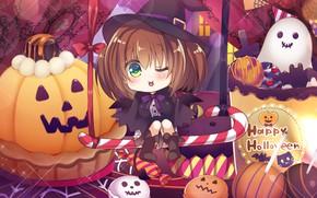 Картинка аниме, арт, девочка, тыква, хеллоуин