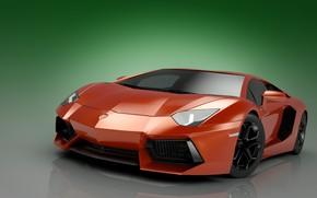 Картинка абстракция, арт, парковка, суперкар, автомобиль, хром, ламборджини, зеленый фон, ламборгини, Lamborghini Aventador, цвет красный, wallpaper., ...
