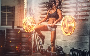 Обои burn, workout, power, brunette, fitness