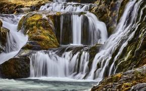 Картинка скалы, водопад, Исландия, Гьяйн
