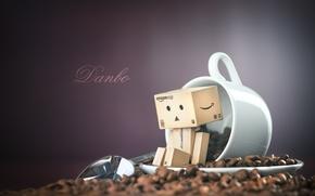 Картинка кофе, ложка, кружка, Danbo, зёрна, боке