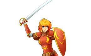 Обои девушка, меч, арт, блондинка, щит, рыцарь, сабля